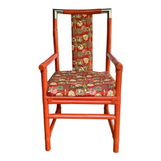 1970s Vintage Tony Duquette Style Chinoiserie Asian Bamboo Wood and Chrome Armchair For Sale