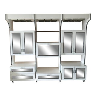 Vintage Chrome & White Wall Unit