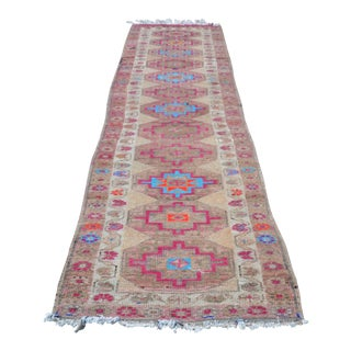 Tribal Handwoven Antique Wool Hallway Runner Rug - 3′ × 11′5″