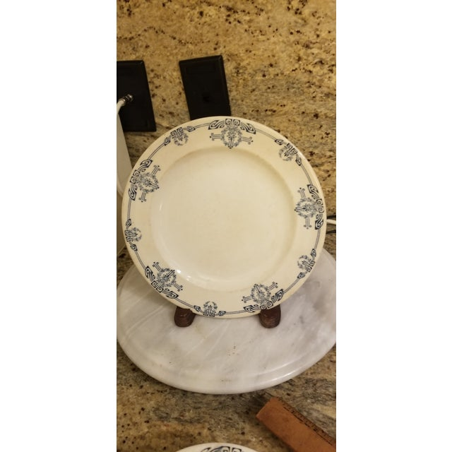 """English 19th Century Staffordshire Blue and White English Allerton """"Cairo"""" Dishes - Set of 8 For Sale - Image 3 of 8"""