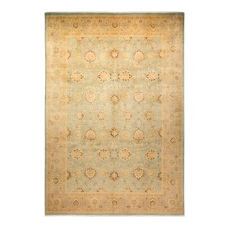 """Mogul, One-Of-A-Kind Hand-Knotted Area Rug - Gold, 10' 0"""" X 14' 6"""" For Sale"""