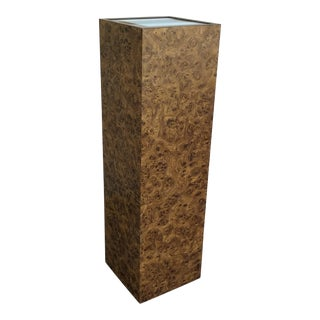 Vintage Milo Baughman Style Illuminated Burl Wood Pedestal For Sale