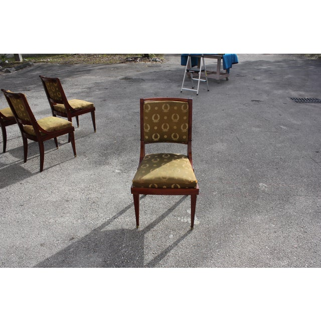 Brass 1910s Vintage French Empire Solid Mahogany Dining Chairs - Set of 6 For Sale - Image 7 of 13
