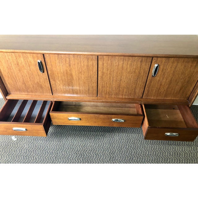 G Plan Midcentury Mahogany Credenza Sideboard With Metal Pulls by G Plan For Sale - Image 4 of 13