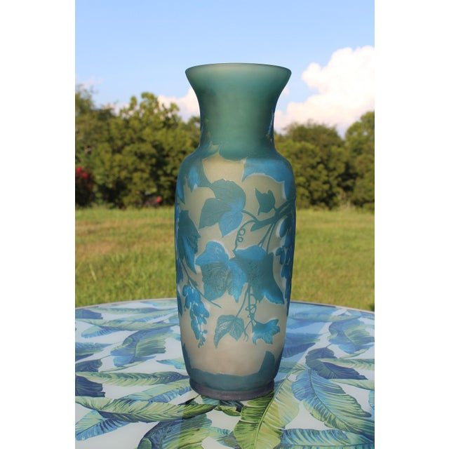 French French Turquoise Blue and White Cameo Glass Vase, Signed For Sale - Image 3 of 12