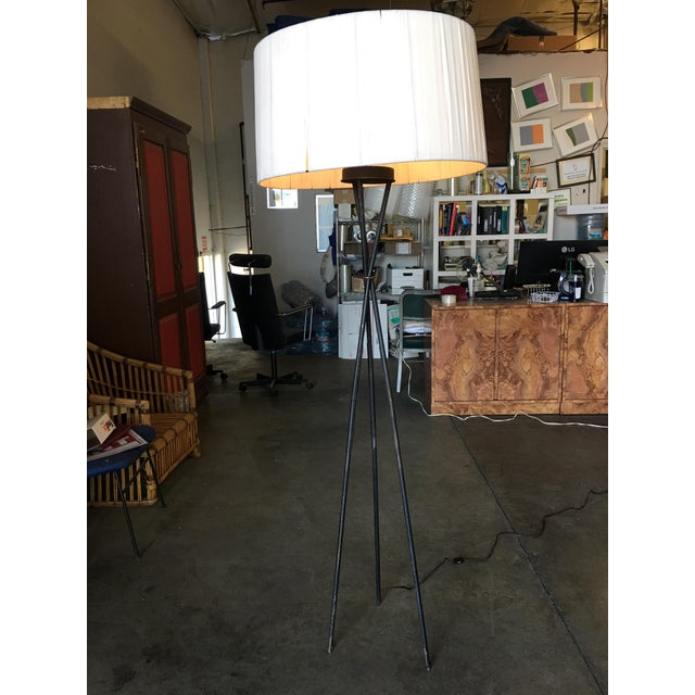 Mid-Century Black Thin Iron Rod Tripod Floor Lamp For Sale In Los Angeles - Image 6 of 7
