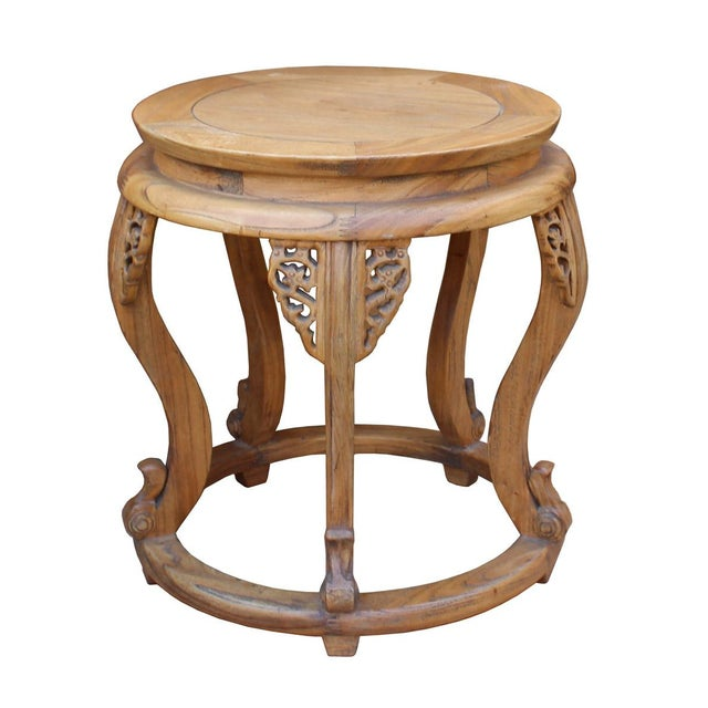 Asian Chinese Round Curved Legs Wood Stool Table For Sale - Image 3 of 6