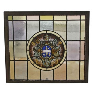 Stained Leaded Glass Window With Ecclesiastical Motif For Sale