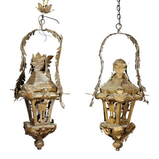 Pair of Italian Tole Hanging Lanterns For Sale
