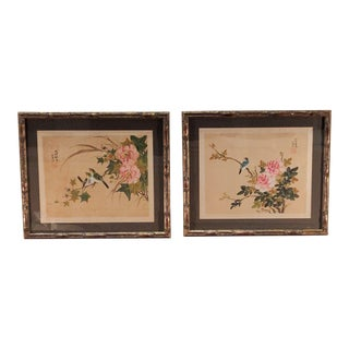 1950s Vintage Framed Chinese Bird Watercolor Paintings - A Pair For Sale