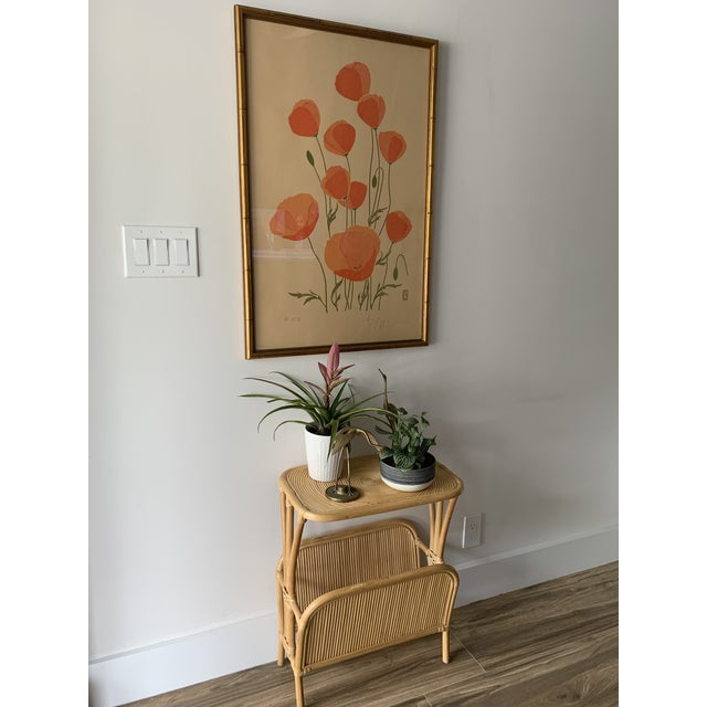 1970s Rattan Split Reed Magazine Rack Side Table For Sale In Miami - Image 6 of 12