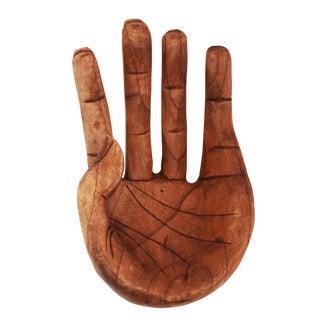 Vintage Carved Wood Hand Figurine Orb Holder For Sale