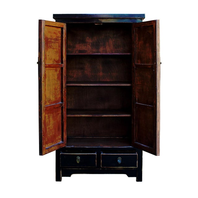 Chinese Distressed Black Storage Cabinet - Image 4 of 5