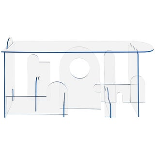 Lexan Series Console Table by Phaedo, Clear Lexan With Blue Oil, Painted Edge For Sale