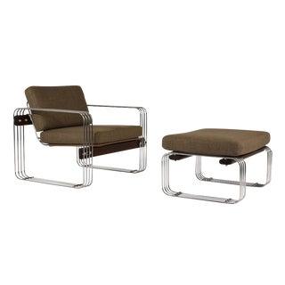 Mid-Century Modern-style Chair and Ottoman by Heinz Meier