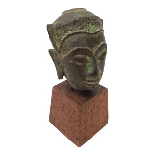 15th to 16th Century Thai Miniature Bronze Head For Sale
