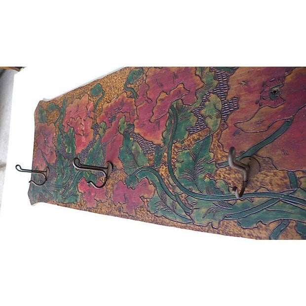 Art Nouveau Hand-Carved and Painted Wood Coat Rack For Sale - Image 4 of 8