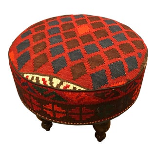 Hand-Made Custom Kilim Ottoman/Stool For Sale