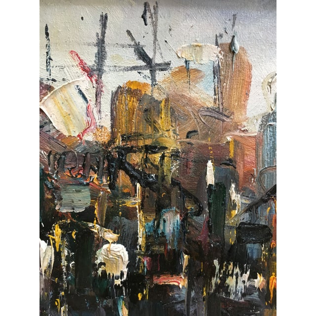 Vintage Mid Century Modern Abstract Expressionist Oil Painting For Sale In New York - Image 6 of 11