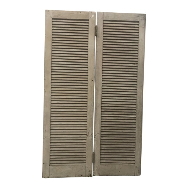 Mid 19th Century Vintage Wood Louvered Shutters- A Pair For Sale