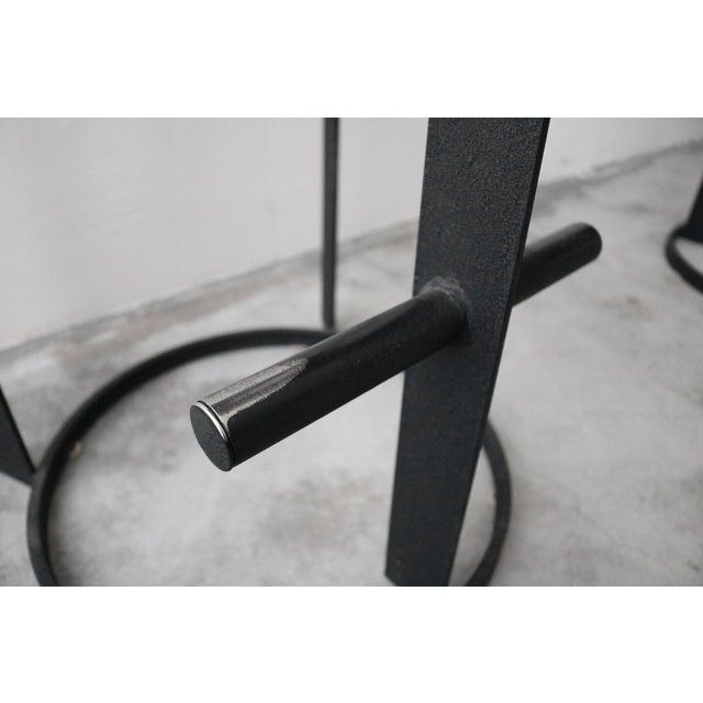 Metal Set of 3 Post Modern Italian Memphis Milano Minimalist Style Bar Stools For Sale - Image 7 of 8