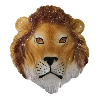 Large Mid-Century Italian Hand Painted Lion Dish/Catchall For Sale