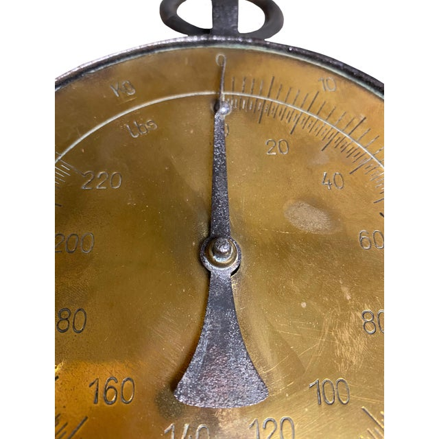 French Country European Antique Heavy Brass Hanging Scale For Sale - Image 3 of 5