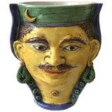 Image of Italian Ceramic Head Vase of Moroccan Man For Sale