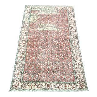 Vintage Distressed Floral Turkish Handmade Red and Beige Rug For Sale