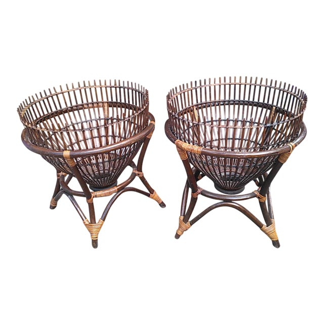 1970s Boho Chic Fish Trap Basket Tables With Glass Tops - a Pair For Sale