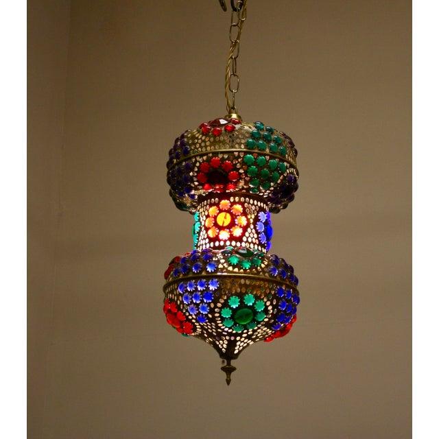 1970s Vintage 1970s Turkish Brass Multicolor Lantern For Sale - Image 5 of 9
