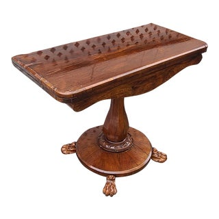 Antique English William IV Period Rosewood Flip Top Games Table For Sale