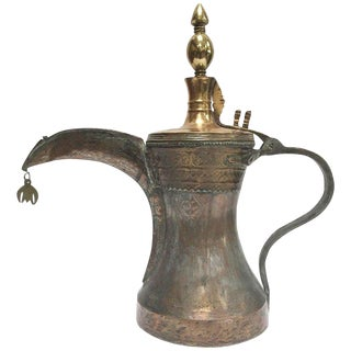 19th Century Middle Eastern Oversized Arabic Bedouin Copper Dallah Coffee Pot For Sale