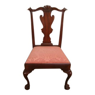 Henkel Harris Solid Mahogany Ball and Claw Side Chair For Sale
