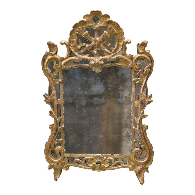 Louis XV , Ca 1750 , Carved Gilt Wood With Mirror Border Glasses For Sale