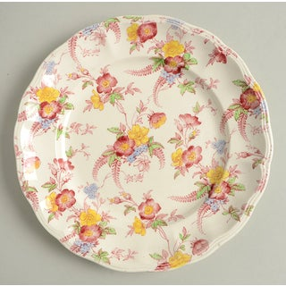 Vintage Pink and Yellow Floral Spode Honeywall Luncheon Plate - Set of 6 Preview