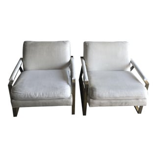 Mid-Century Modern Linen Upholstered Bergere Chairs - a Pair