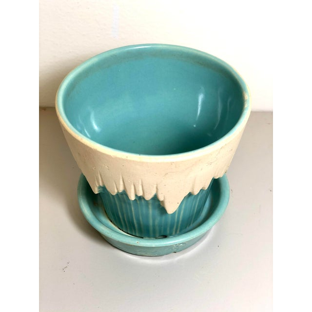 """McCoy Pottery 1940s - 1960s """"Teal Blue"""" Mid Century Flowerpot And Attached Saucer Snow Top Design, Small, Teal Blue glaze..."""