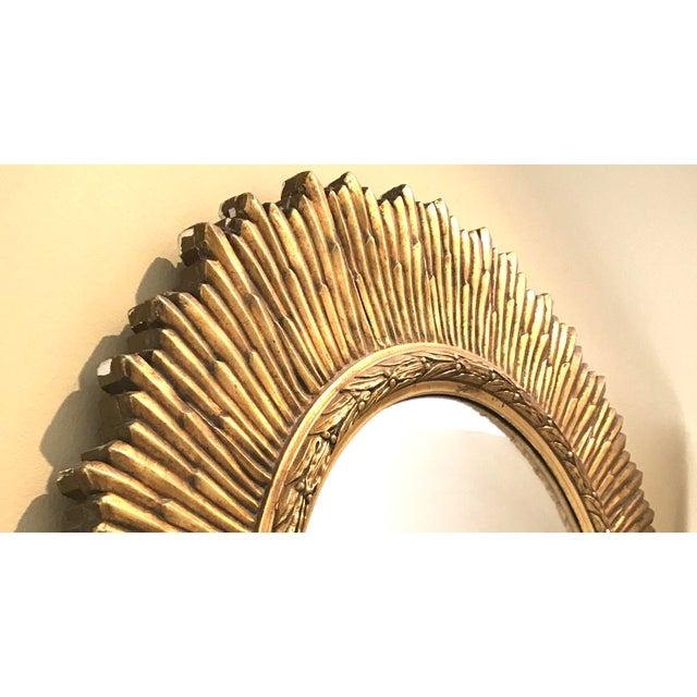 Large Vintage Gilt Wood Sunburst Convex Mirror - Image 3 of 3