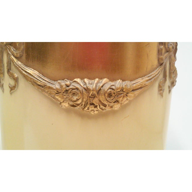 Regency Ivory Ormolu Roses & Bows Lamp Shades - a Pair For Sale - Image 4 of 5