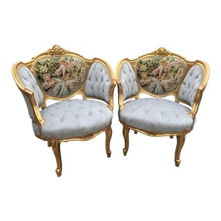 French Louis XVI Style Corbeille Chairs - a Pair For Sale