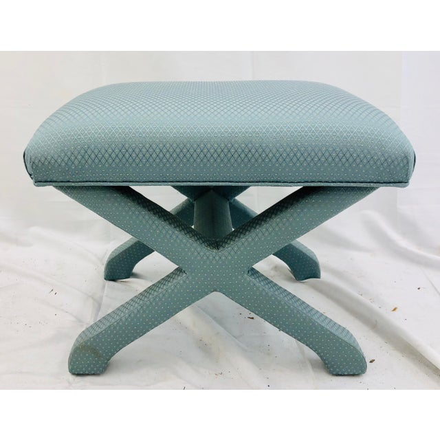 Blue Vintage X Base Ottoman Bench For Sale - Image 8 of 8