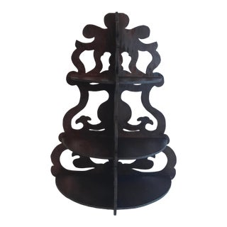 Vintage Cutwork Wooden Three Tier Wall Shelf For Sale