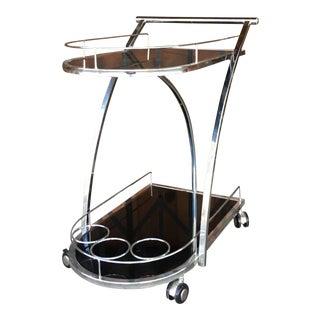 1980s Mid Century Modern Chrome Bar Cart For Sale