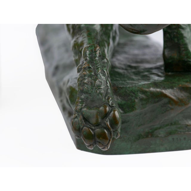 """""""Wounded Lioness"""" French Antique Bronze Sculpture by Charles Valton For Sale - Image 10 of 13"""