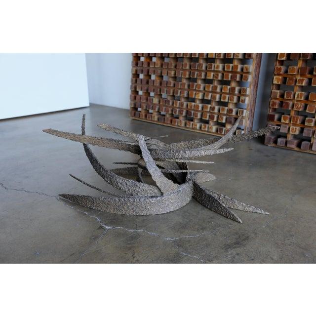 Daniel Gluck sculptural Brutalist bronze coffee table. Beautiful original patina to the bronze.