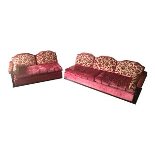 1970's Pink Velvet Sofa Set and Chair For Sale