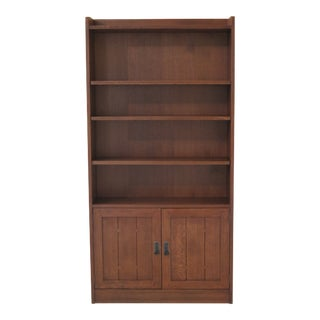 Mission Stickley Oak Open Bookcase With Cabinet Base For Sale