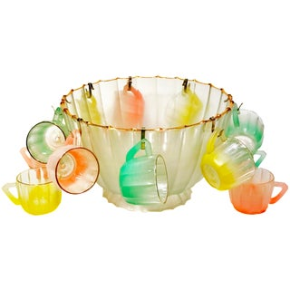 Vintage Gold Trim Glass Punch Bowl W/ Ombre Colored Glasses