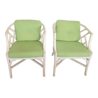 White Bamboo Side Chairs With Green Cushions - a Pair